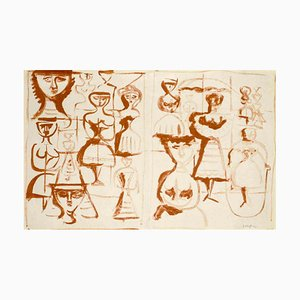 Illustrated Greeting Card - Original Lithograph by Massimo Campigli - 1970 ca. 1960 ca.