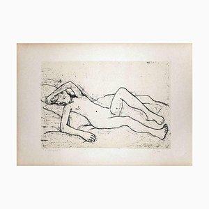 Lying Nude Woman - Original Lithografie von Felice Casorati - 1946 1946