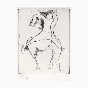 Knight - Original Etching by Marino Marini Late 1900