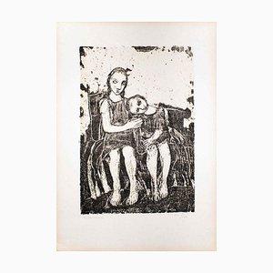 The Embrace - Original Lithograph by Felice Casorati - 1946 1946
