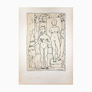 Nudes - Original Lithograph by Felice Casorati - 1946 1946
