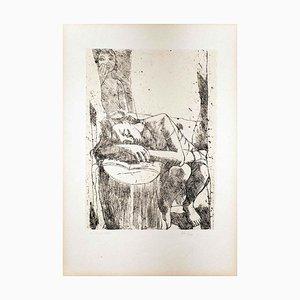 Sleeping Woman - Original Lithograph by Felice Casorati - 1946 1946