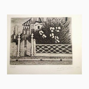 Flowers and Riuns - Original Etching by Giuseppe Viviani 1957