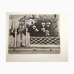 Flowers and Riuns - Original Radierung von Giuseppe Viviani 1957