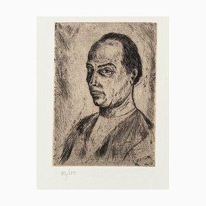 Portrait - Original Etching on Paper by Giuseppe Viviani - 20th Century 20th Century
