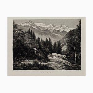 Alpen - Original Lithographie auf Papier von A. Lauro - 20. Jahrhundert 20. Jahrhundert