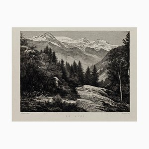 Alps - Original Lithography on Paper by A. Lauro - 20th Century 20th Century
