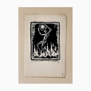 Fire - Original Woodcut on Paper by Erika Lawson Frimke - 1937 1937