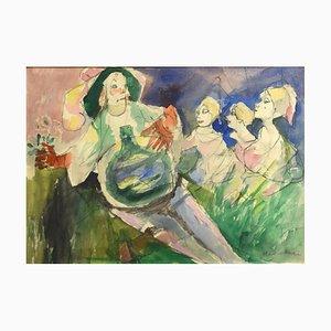 Femmes - Fusain et Aquarelle par M. Maccari -1960s 1960s
