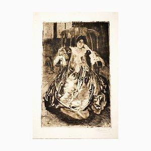 La Robe de Soie - Original Etching and Drypoint by Abel Besnard - 1887 1887