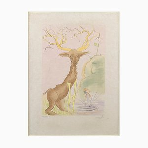 The Stag Reflected in the Water - Original Etching by S. Dali - 1974 1974