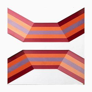Composition Abstraite - Original Enamel on Canvas par Renato Livi - 1971 1971