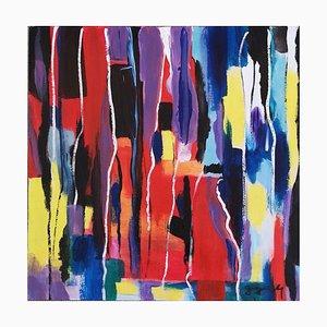 Abstrakte Komposition - Originales Acryl auf Platte von M. Goeyens - 21. Jahrhundert 2000er