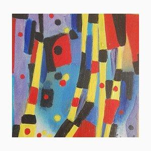 Abstrakte Komposition - Original Öl auf Tisch von M. Goeyens - 2000er 2000er