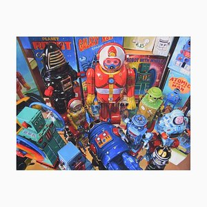 Robots - Original Oil on Canvas by Giampaolo Frizzi - 2016 2016
