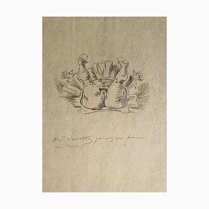 Chute d'un Ange - Original Radierung von Félicien Rops - Spätes 19. Jahrhundert, 19. Jh