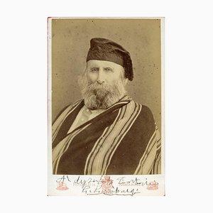 Foto-retrato vintage firmado a mano por Giuseppe Garibaldi - década de 1870