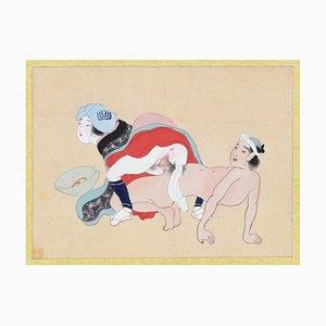 Erotische Szene - Original Gouache auf Seide Ende des 19. Jahrhunderts