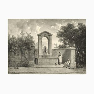Interieur de Geneve. Fontaine de Beauregard-Original Lithograph by A. Fontanesi 1854