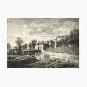 Interieur de Geneve. Porte Neuve - Lithograph by A. Fontanesi 1854
