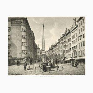 Interieur de Geneve. Fontaine et Rue de Coutance - Lithograph by A. Fontanesi 1854