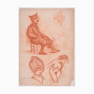 Etudes pour Plusieurs Figures - Dessin au Dessin Original par D. Ginsbourg - 1918 1918