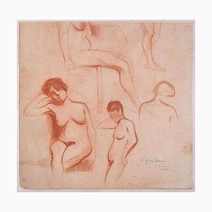 Studies for a Woman Standing Nude - Bleistiftzeichnung von D. Ginsbourg - 1918 1918