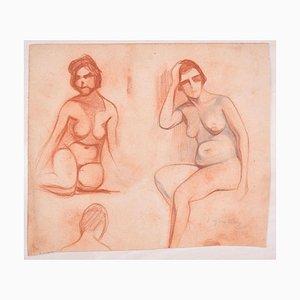 Studies for Female Nudes - Original Bleistiftzeichnung von D. Ginsbourg - 1918 1918