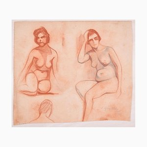 Studies for Female Nudes - Original Pencil Drawing by D. Ginsbourg - 1918 1918