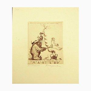 Ex Libris Mantero - Original Etching by M. Fingesten - Early 1938 1938