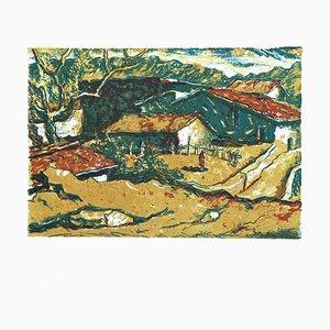 Rural Landscape - Original Lithograph by Mario Rossi - 1970s 1970s