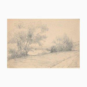 River Bank - Bleistift und Kohlezeichnung von Emile-Louis Minet - 1907 1907