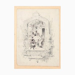 Sketch for a Sign - Original Pencil and China Ink Drawing Early 20th Century Early 1900