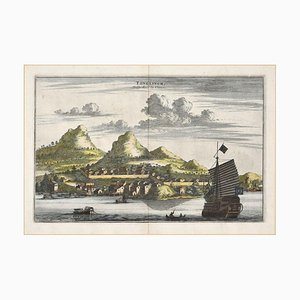 View Of Tongling - Original Hand Watercolored Etching by A. Leide Early 18th Century