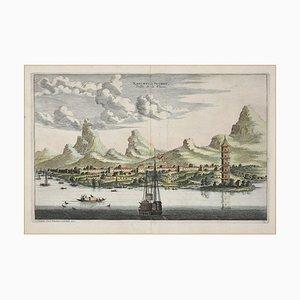 View Of Suzhou - Original Hand Watercolored Radierung von A. Leide Frühes 18. Jahrhundert