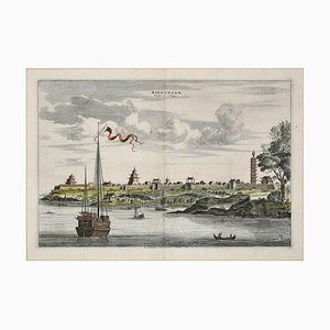 View Of Kinnungam - Original Hand Watercolored Etching by A. Leide Early 18th Century