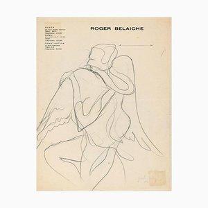 Winged Figure - Original Pencil Drawing by J. Bodley - 1940 1940