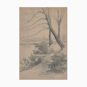 Paisajes con árboles y río - Dibujo a lápiz de Unknown Master francés - 1919 1919