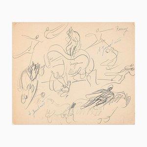 Study of Horses and Knights - Dessin au Plomb par A. Jouclard, Début 20ème Siècle