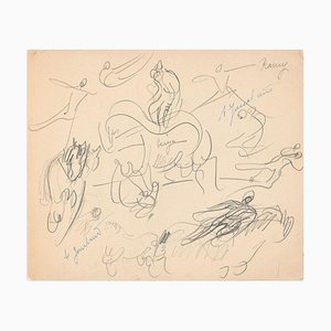 Study of Horses and Knights - Original Pencil Drawing by A. Jouclard Early 20th Century