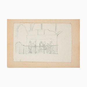 Transport of Dead Christ - Original Bleistiftzeichnung von A. Gros - Late 1800 Late 19th Century