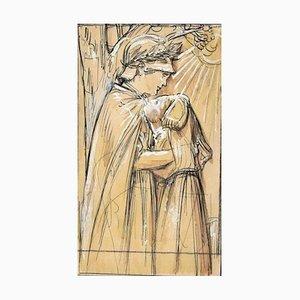 Embrace - Dessin Original China Ink par A. Giraldon - Début 20ème Siècle Début 20ème Siècle
