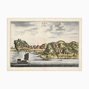 View Of Hukoen - Original Hand Watercolored Etching by A. Leide Early 18th Century