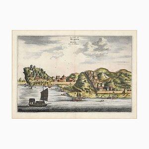 Vue de Hukoen - Gravure à la Main originale Watercolored par A. Leide, Début 18ème Siècle