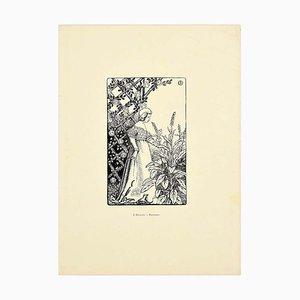 Printemps - Original Woodcut Print by J. Beltrand - 1899 1899