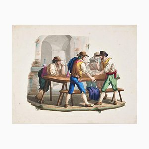 Gioco di Morra - Etching a Watercolor by Bartolomeo Pinelli - 19th Century 19th Century