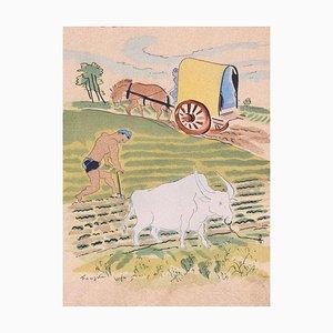 Field Work - Original Lithographie von LT Foujita - 1928 1928