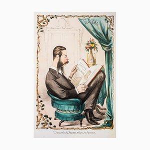 L'Onorevole Di Nocera Medita Un Discorso - Lithograph by A. Maganaro - 1870s 1870s