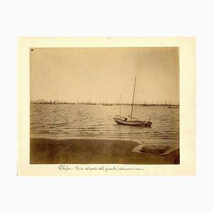 Chefoo, Harbour of Junks - Ancient Albumen Print 1880/1900 1880/1890