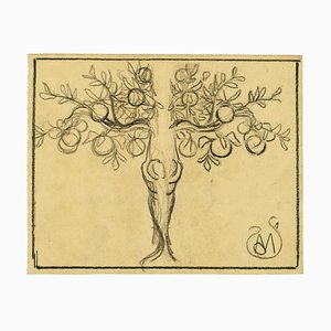 Fruit Tree - Charcoal on Paper by A. Mérodack-Jeanneau Late 19th Century